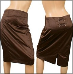 Plus Brown Knee Length Skirt - 1L - 2XL - 3XL