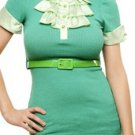 Green Belted Blouse with Pleated Neck - SMALL, MEDIUM, LARGE