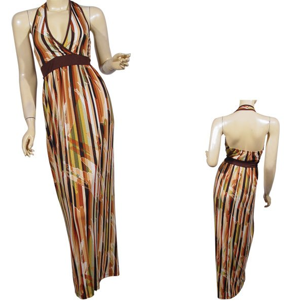 Fashion V Neck Halter Maxi Dress-SMALL-MEDIUM