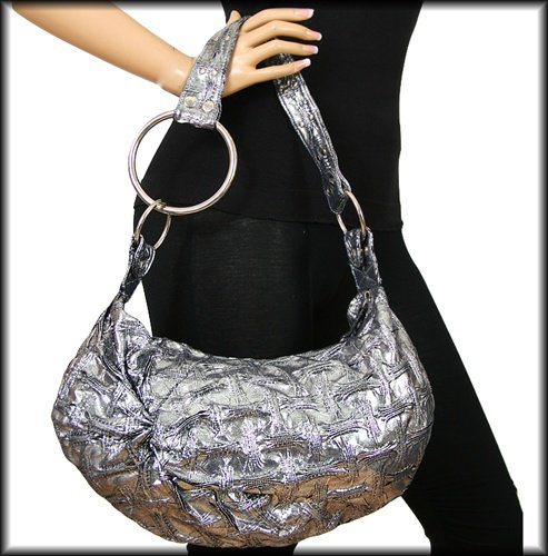 Small Silver Crushed Material Purse