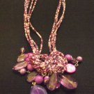 Purple and Pink Clustered Beaded Necklace with Earrings