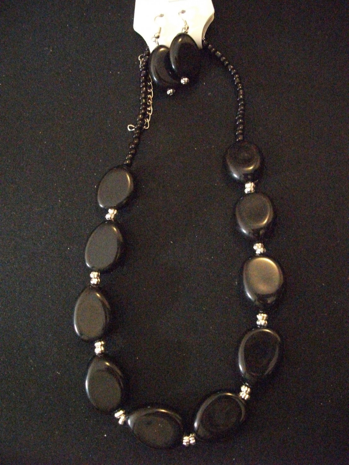 Black and Silver Beaded Necklace with Earrings