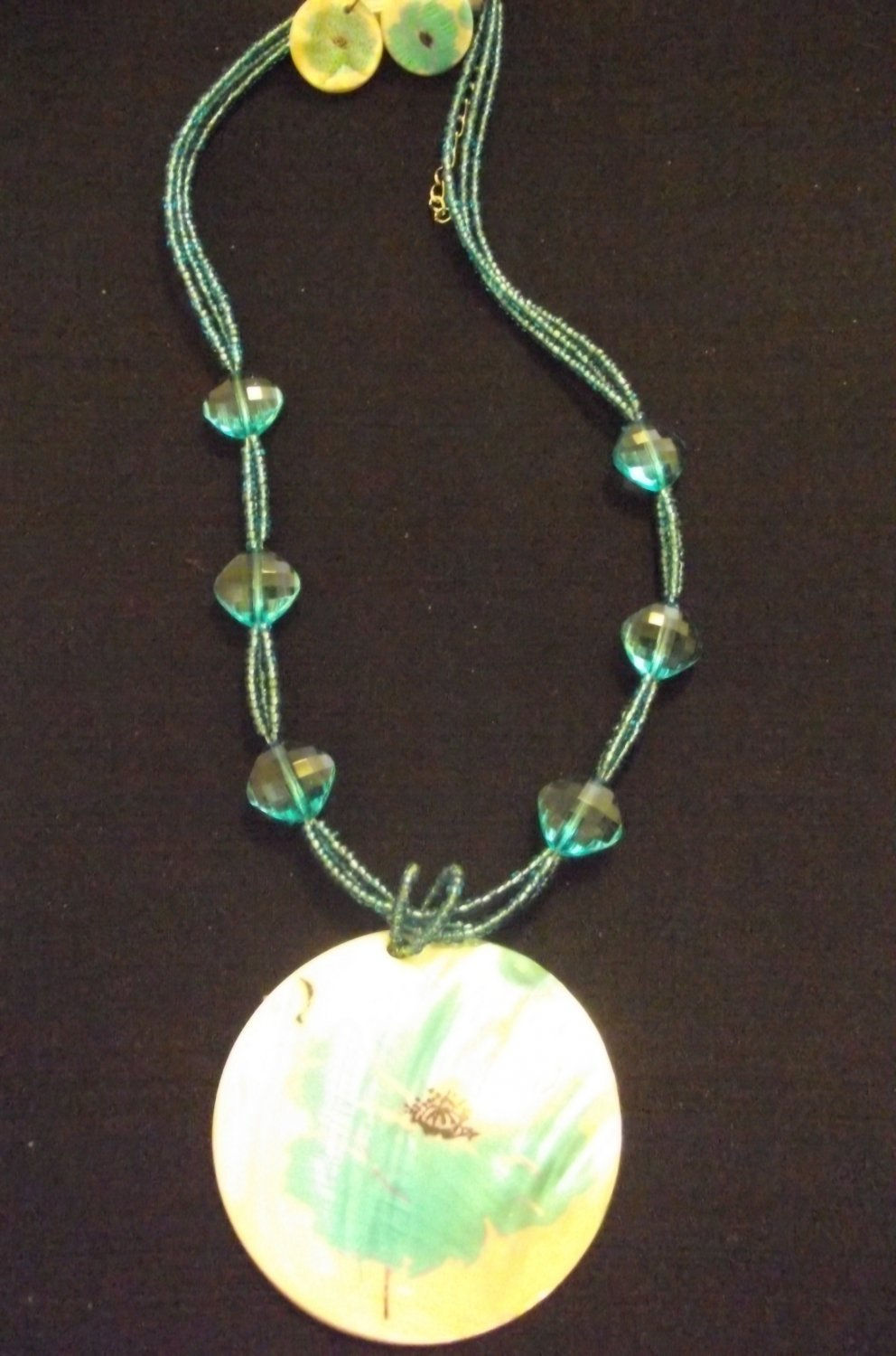 Blue and Green Multi Layer Necklace with Abstract Print