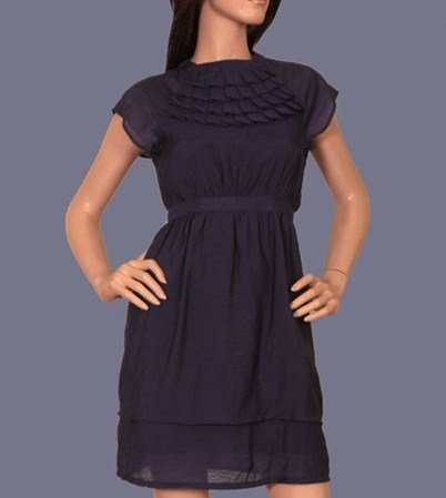 Blue  Dress with Pleated Neck and Waist Tie - XSMALL