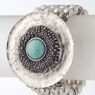 Textured metal stone beaded bracelet