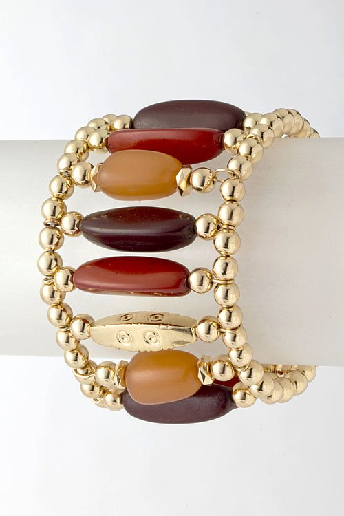Brown Beaded stretchable bracelet