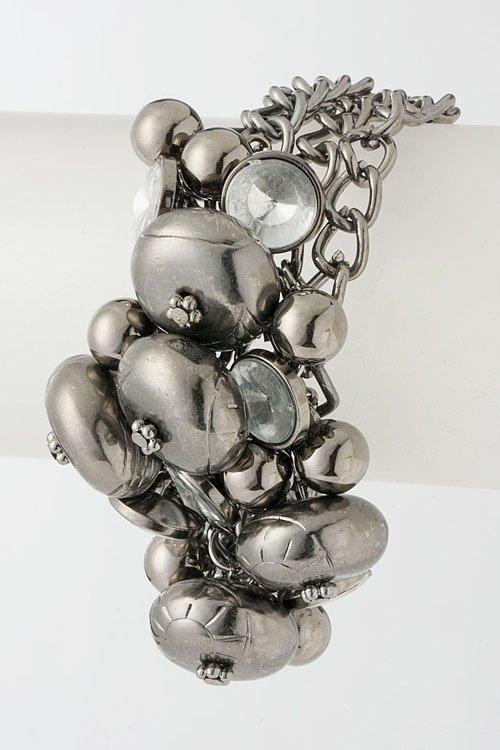 Metallic Beaded Chain Bracelet