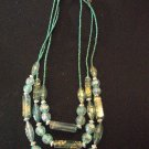 Blue Multi Layer Beaded Necklace with Earrings