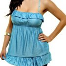 Blue Babydoll Top - SMALL, LARGE