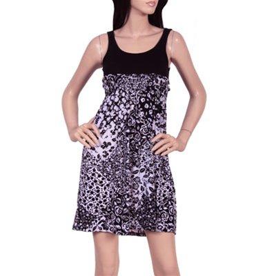 Plus Floral Print Tank Dress with Empire Waist - 2XL