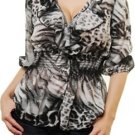 Grey Animal Print Blouse SMALL