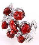 Silver Tone Metal Stretch Cuff Bracelet With Stones
