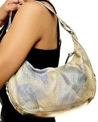 Beige and Blue Small Handbag