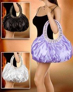 Beautiful Handbag with Studded Handle PURPLE