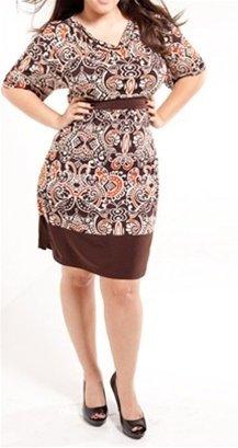 Plus Brown Print Dress 1XL