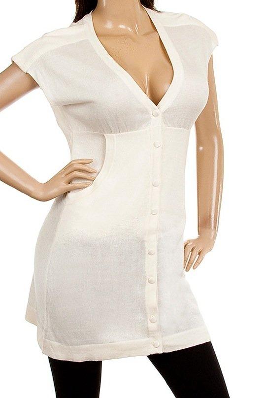 White Short Sleeve Knit Sweater SMALL, MEDIUM, LARGE