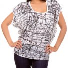"White and Black Abstract """"Somebody To Love"""" Blouse"