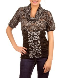 Black and Grey Lace Short Sleeve Blouse SMALL, MEDIUM, LARGE