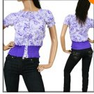 Purple and White Print Shirt  MEDIUM, LARGE, X-LARGE