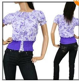 Purple and White Print Shirt  MEDIUM, LARGE, X-LARGE