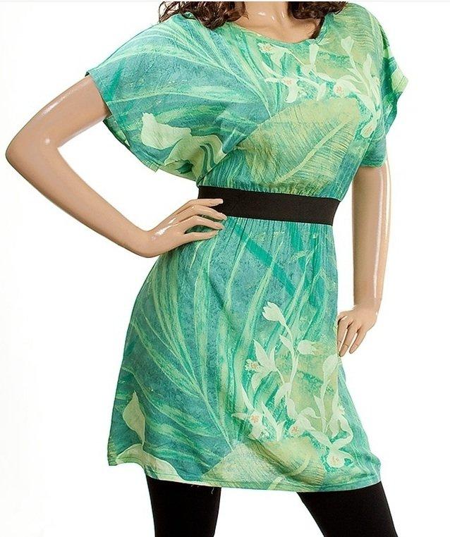 Green Tunic Print Blouse 2XL, 3XL