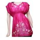 Fuchsia V-Neck Blouse with  White Embroidery 3XL