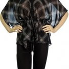 Plus Black Sheer Blouse with Plaid Print 2XL, 3XL
