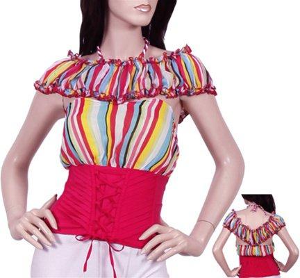 Pink Striped Corset Blouse SMALL - MEDIUM - LARGE