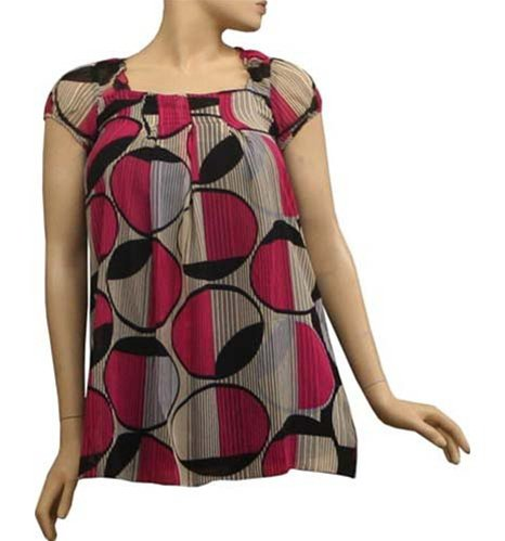 Capped Sleeve Blouse with Circle Print SMALL-MEDIUM-LARGE