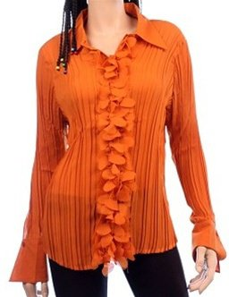 Burnt Orange Ruffle Blouse SMALL - MEDIUM - LARGE