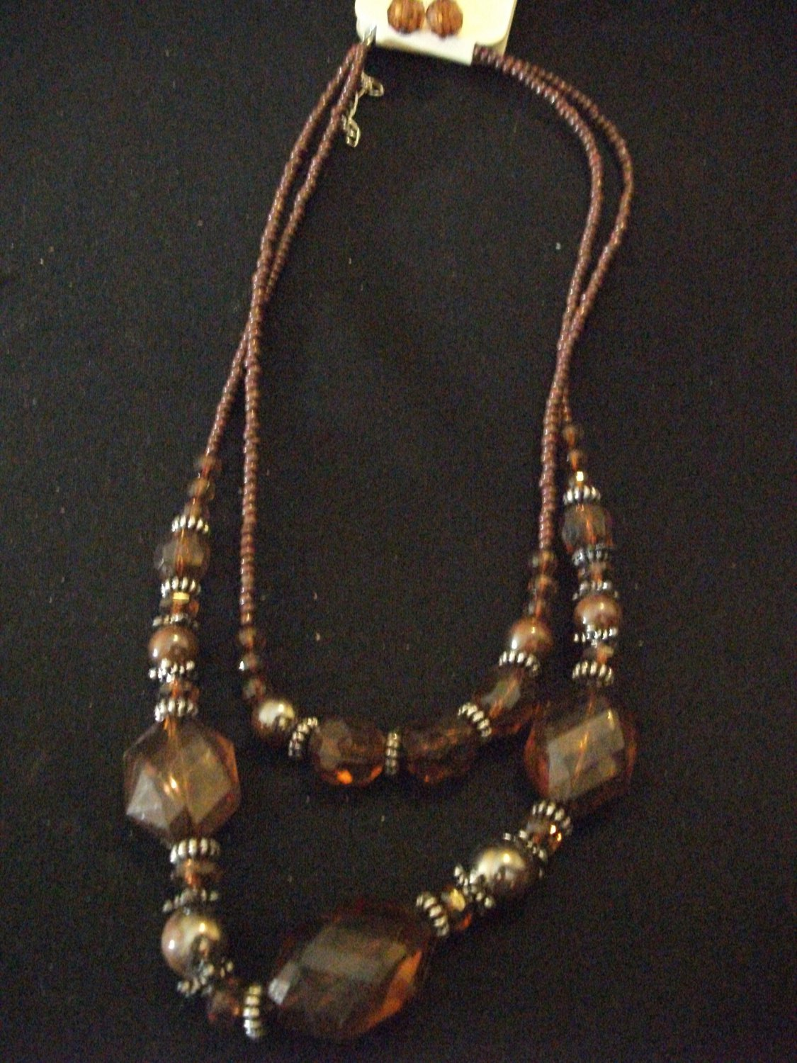 Brown Multi Stringed Bead Necklace and Earring Set