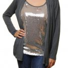 One Pc Silver Tank and Cardigan 2XL - 3XL