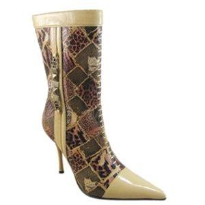 Tan Snake Skin Inspired Boots 6 - 7.5