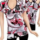 R/W/B Abstract Print Blouse 1XL