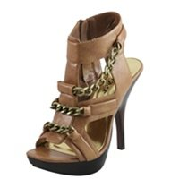 Tan Platform Heel with Chain Detail 6 - 6.5 - 7- 7.5 -8.5 - 9 -10