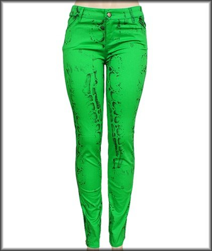 Green Snake Skin Inspired Print Skinny Pants SMALL - MEDIUM - LARGE