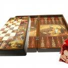 Oriental Backgammon Bible Stories  Handmade Walnut Wood Set Large NEW FREE SHIPPING