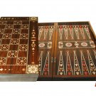 Oriental Mother of Pearl Backgammon/Chess Handmade Walnut Wood Set Large NEW