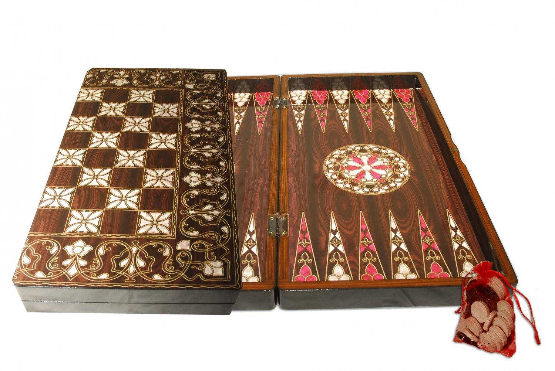 Oriental Seashell Backgammon/Chess Handmade Walnut Wood Set Large NEW FREE SHIPPING