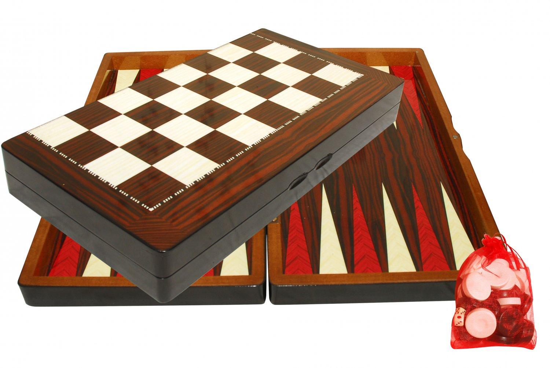 Walnut Backgammon/Chess Handmade Wood Set Large NEW FREE SHIPPING