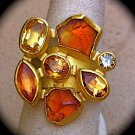 Petra Class NIB Designer Cluster Citrine and Diamond Ring. 16 GRAMS SOLID 18K/22K GOLD!