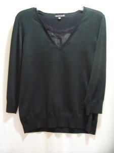 CAROLYN TAYLOR Black V-Neck Knit Sweater Size Small,NWT