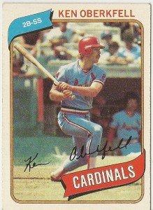 """KEN OBERKFELL """"St. Louis Cardinals"""" 1980 #701 Topps Baseball Card"""