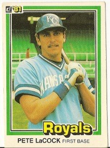 "PETE LaCOCK ""Kansas City Royals"" 1981 #344 Donruss Baseball Card"