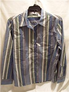 LEE Womens Blue Stripe Easy Fit Shirt, SZ (PL), NWT