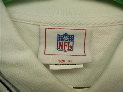 NFL VF Imagewear Mens XL WHT Polo Shirt,BLK/Grey Collar, NWT