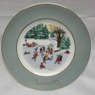 "1975 AVON Christmas Plate Series Fourth Edition ""Skaters on The Pond"""