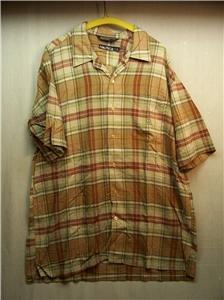 NAUTICA~Mens S/S Shirt~Size L~Brn/Rust/Beige/Grn Stripe