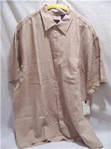 VAN HEUSEN~Mens Beige S/S Camp Shirt~NWT~SZ XL