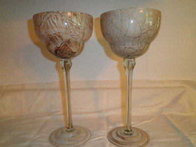 Beautiful Pair of Unique Beige Glass Candle Holders